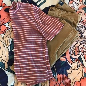 Pink Striped T-Shirt & Brown Skinny Jeans